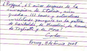 Carlos se queja de la inacción de Venezuela sobre su situación, en un manuscrito