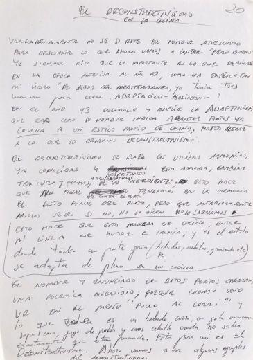 Subastan un manuscrito de Ferran Adrià con los secretos de El Bulli