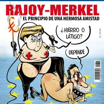 Facebook censura la portada sexual y 'sadomasoquista' de El Jueves con Merkel y Rajoy