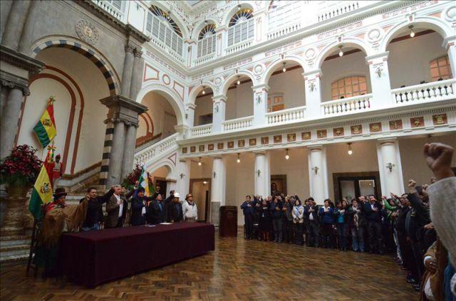 vista del interior del palacio de gobierno de la paz