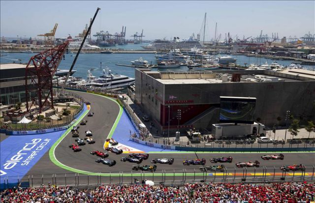 Circuito Urbano De Valencia : Vista del circuito urbano de valencia donde se disputa el