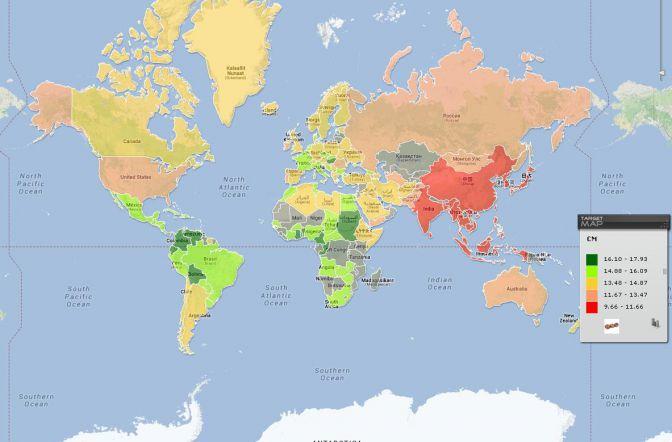 Un tuitero español crea un mapamundi de tamaños del pene -- Qué.es --