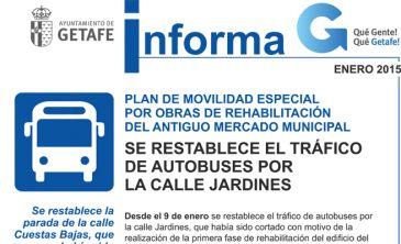 Restablecido el tr fico de autobuses en la calle jardines for Calle jardines getafe