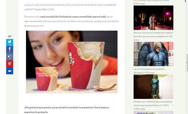 KFC lanza un vaso de café que se come