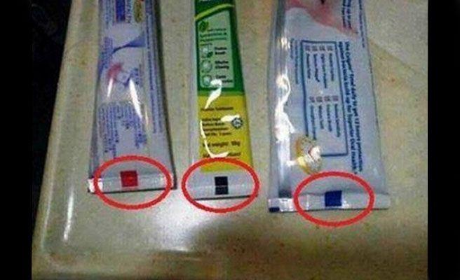 ¿Para qué sirven las marcas de colores de la pasta de dientes?