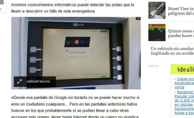 Un informático gallego navega en Google con un cajero automático