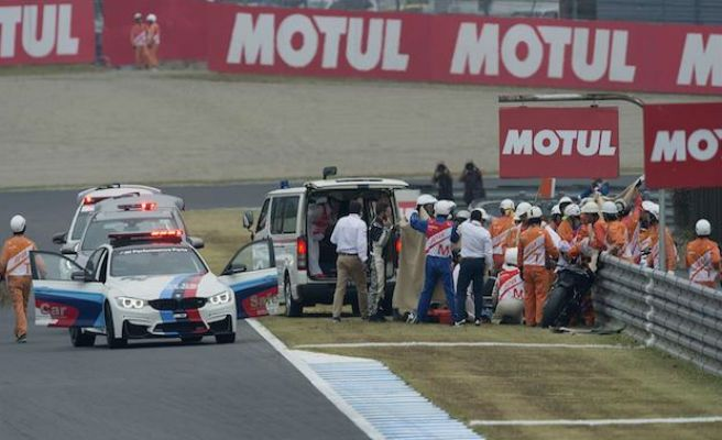 Alex De Angelis, sufre un grave accidente en Motegi.