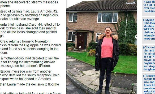 Se venga de su marido infiel vendiendo su casa mientras está de viaje