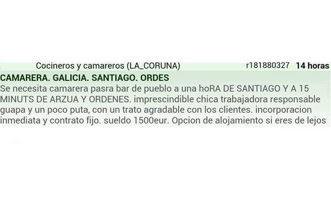 """Un bar gallego busca una camarera """"un poco puta"""""""