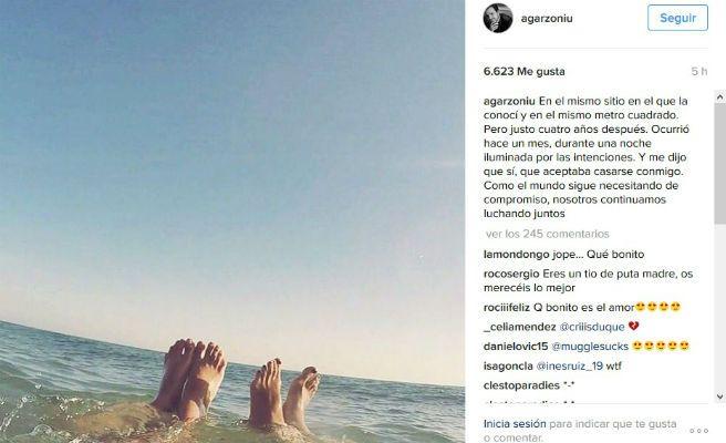 Imagen de la cuenta de Instagram personal de Alberto Garzón, en donde anunció su inminente boda