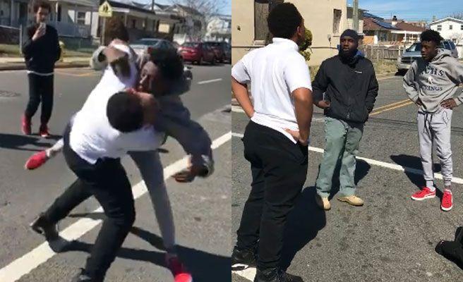 Un hombre detiene una pelea callejera entre dos jóvenes y se hace viral