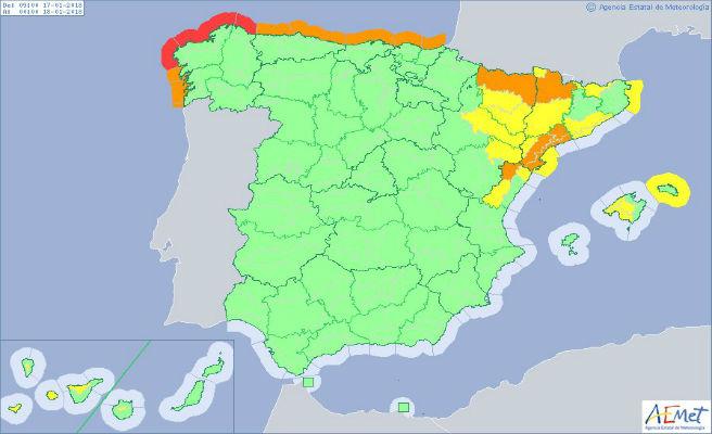 Avisos en 17 provincias por temporal de mar en el norte y de viento en el noreste