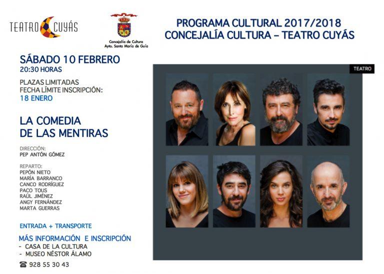 """Cultura facilita con entradas a precio reducido a los Guienses que deseen acudir a """"La Comedia de Las Mentiras"""""""