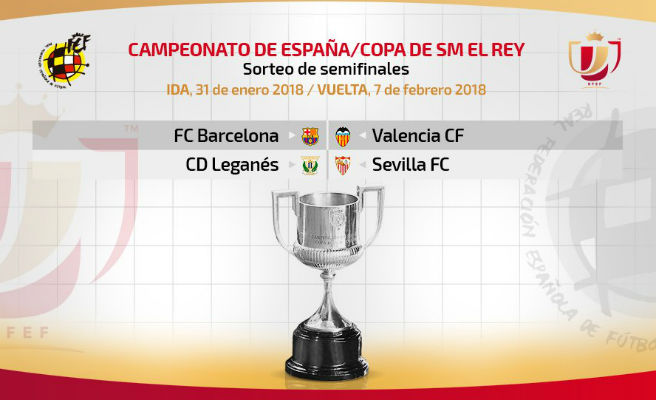 Barcelona-València i Leganés-Sevilla, semifinals de la Copa SM El Rei