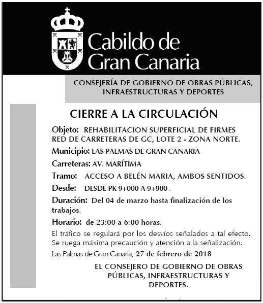 El Cabildo destinará este año 1 millón a trabajos de reasfaltado de la Avenida Marítima que comienzan este lunes