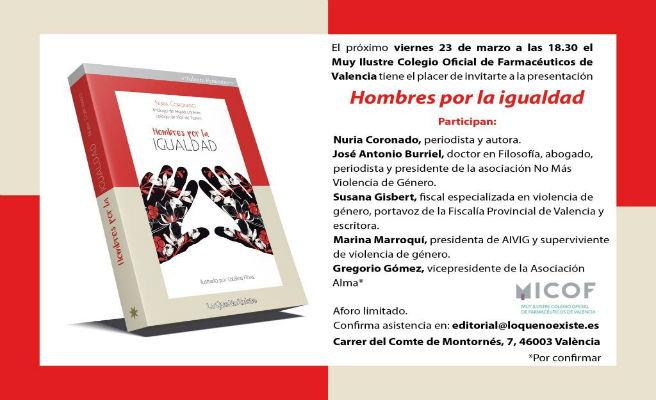 Presentación del libro 'Hombres por la igualdad' el próximo viernes 23 en Valencia