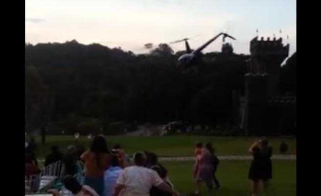 Se estrella el helicóptero que llevaba a la novia al altar ante los asistentes a la boda