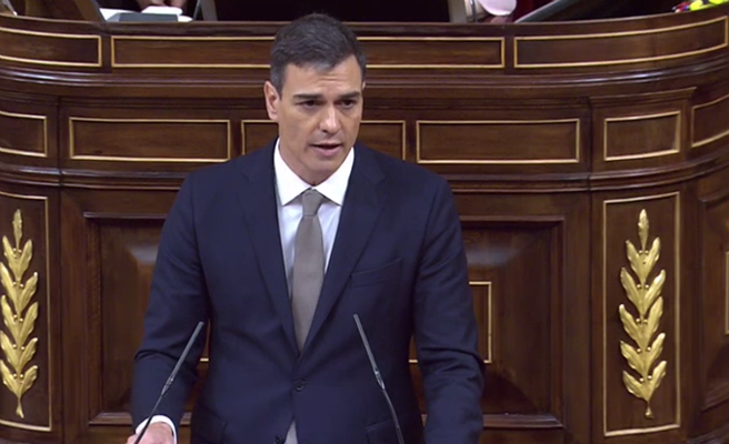 """Pedro Sánchez: """"Dimita, señor Rajoy, y esta moción de censura habrá terminado hoy, aquí y ahora"""""""