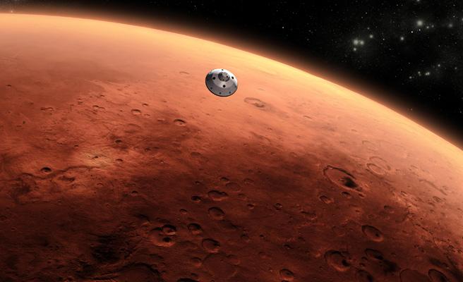 Descubierto un lago de agua líquida bajo una masa de hielo en Marte