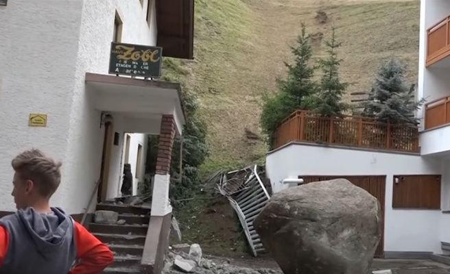Una roca de 20 toneladas se choca contra una casa en Austria