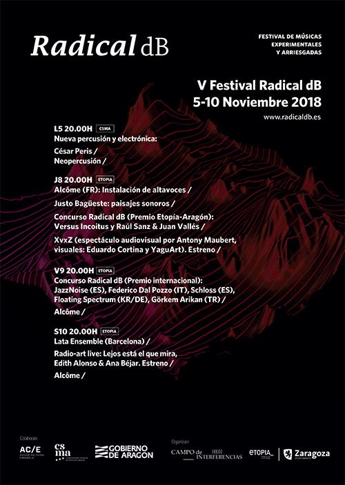 Etopia Centro de Arte y Tecnología de Zaragoza celebra, del 5 al 10 de noviembre, la quinta edición del festival de música experimental Radical dB
