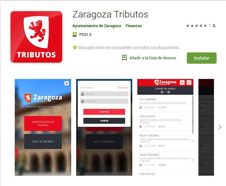 Una APP de móvil permite ya la consulta y el pago de los recibos generados desde el Ayuntamiento de Zaragoza
