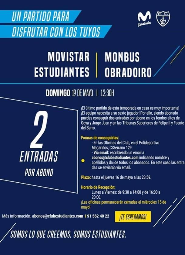 Dos entradas gratis por abonado para la final contra Monbus Obradoiro