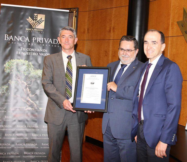 AENOR certifica a Caja Rural Granada para el Asesoramiento en Patrimonio Personal