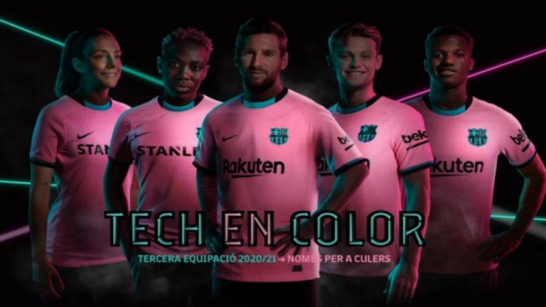 El amanecer de Barcelona inspira la tercera camiseta, en rosa y verde, del Barça