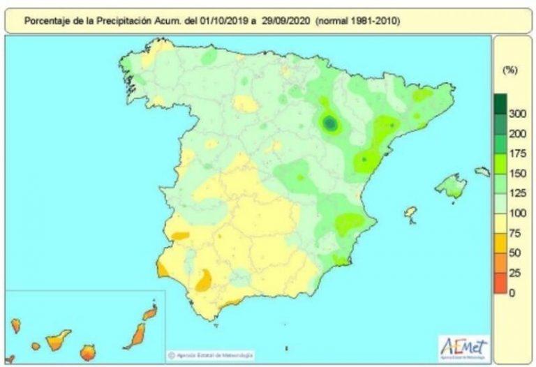El año hidrológico termina con más lluvias de lo normal en casi toda España