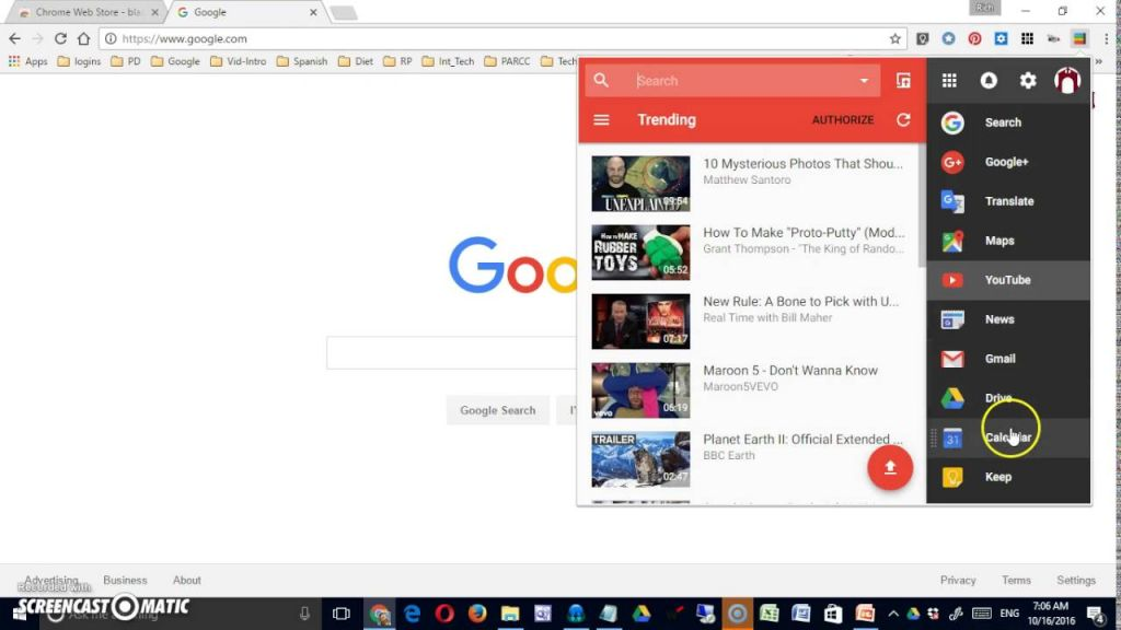 black menu para google chrome