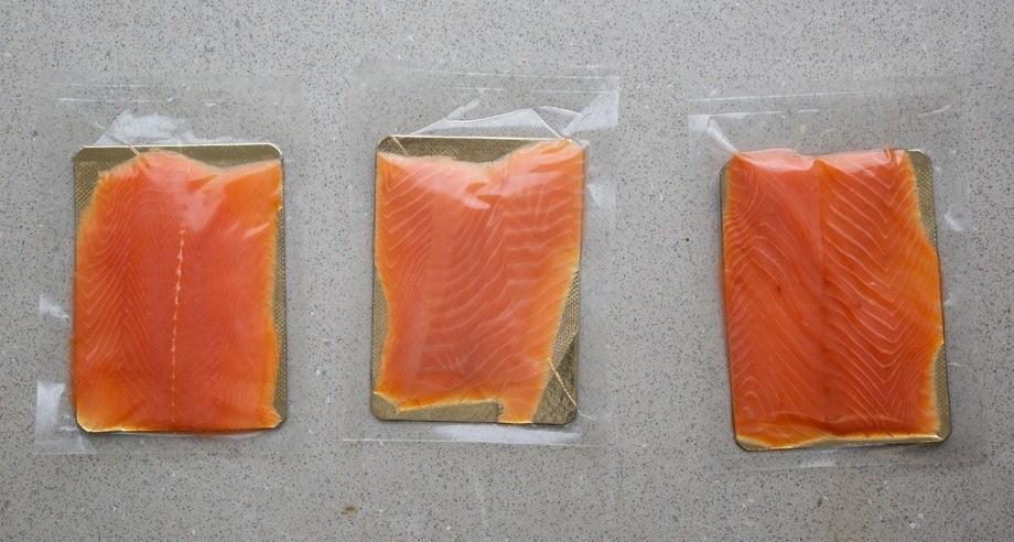 Paso 1 corte y lavado del salmón