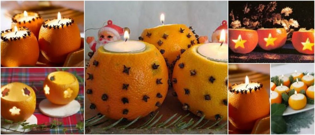 Ambientador de naranja con vela