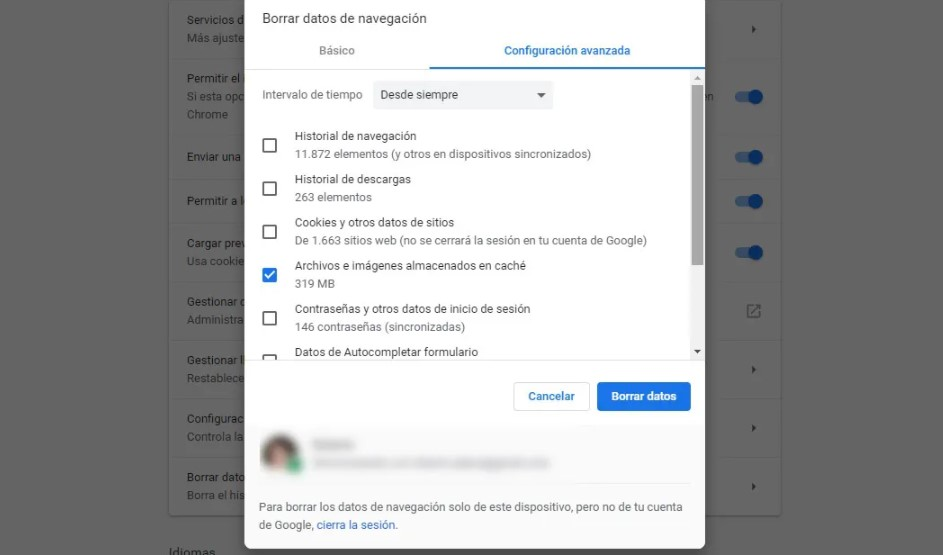 archivos temporales en Google Chrome