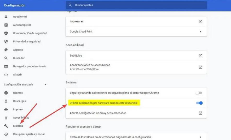 Aceleración en Google Chrome por hardware cuando esté disponible