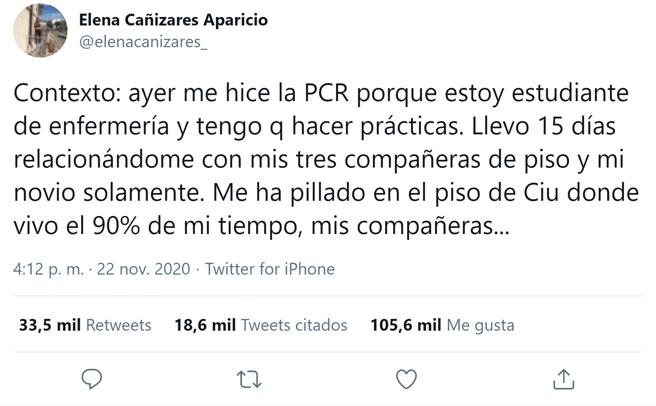 Primer tuit del hilo que subió Elena Cañizares contando su historia.
