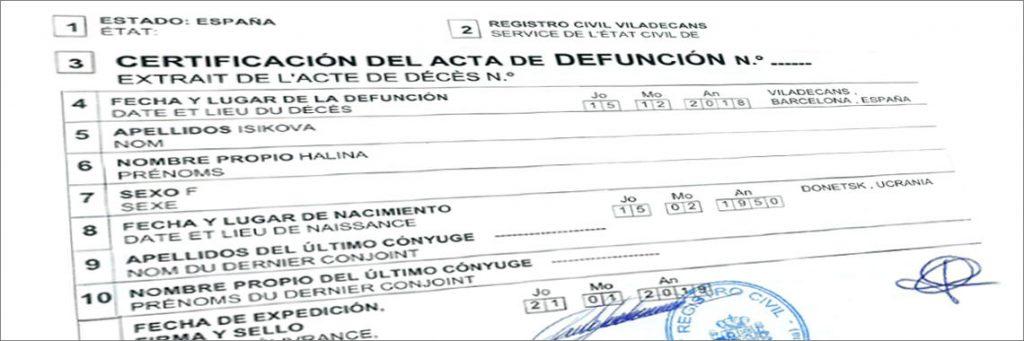 Documentación para solicitar el certificado de defunción