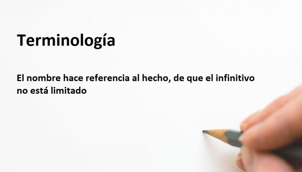 Terminología  de infinitivo