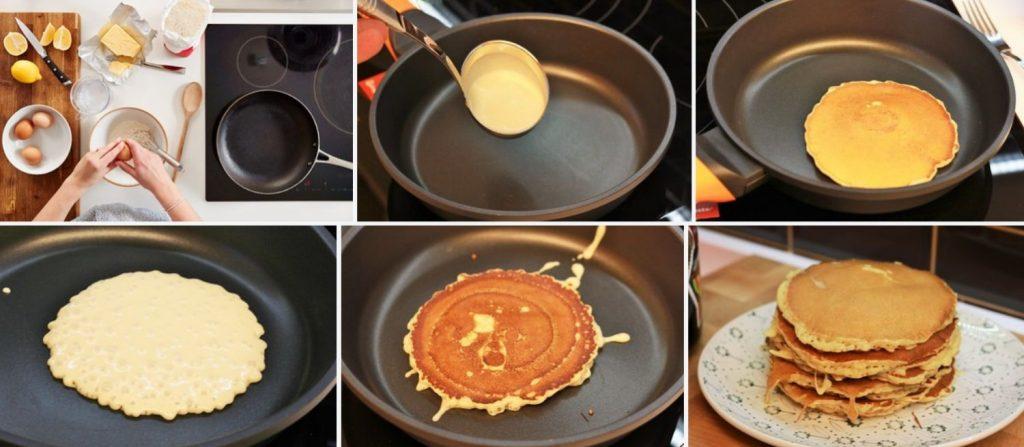 Preparación en la crepera o sartén para las tortitas