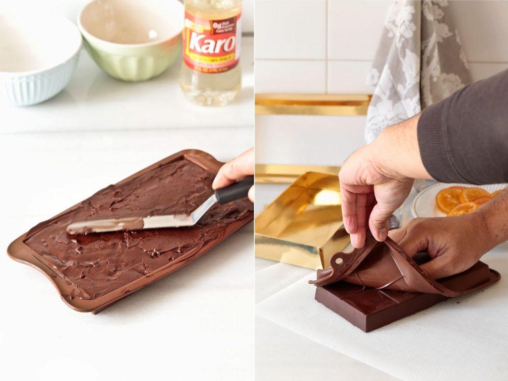 preparación del turrón de chocolate con naranja