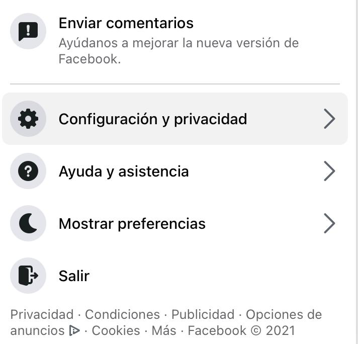 """Opción de """"Configuración y privacidad"""" en Facebook"""