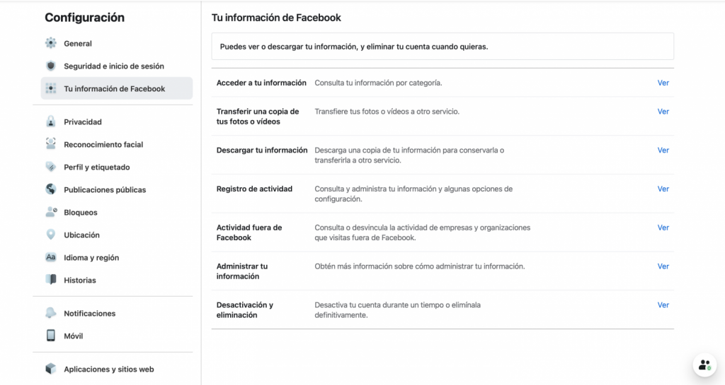 Configuración de tu información de Facebook