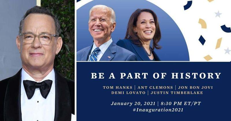 Tom Hanks Demi Lovato, Justin Timberlake, Jon Bon Jovi y Ant Clemons investidura Joe Biden presidente  EE.UU. Lady Gaga Jennifer López Joe Biden