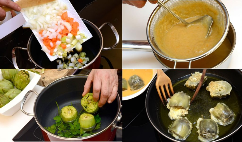 Elaboración de la receta de las alcachofas rebozadas con salsa española