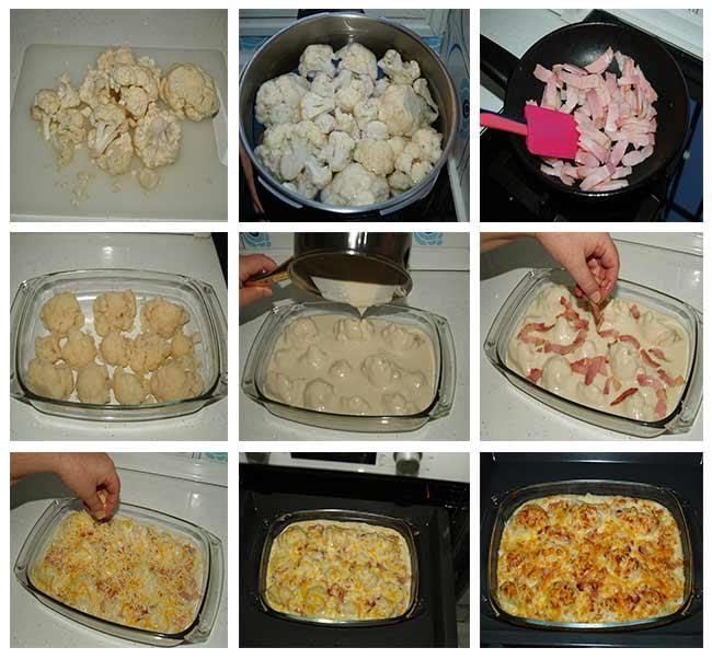 Paso a paso de la preparación  de la coliflor con bacon y queso