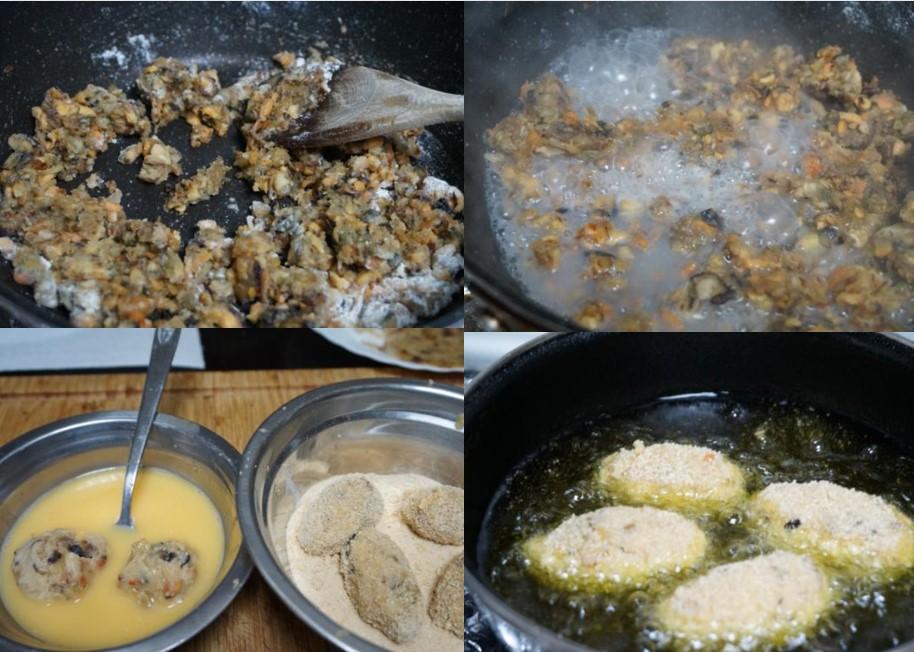 Preparación de las croquetas de mejillones
