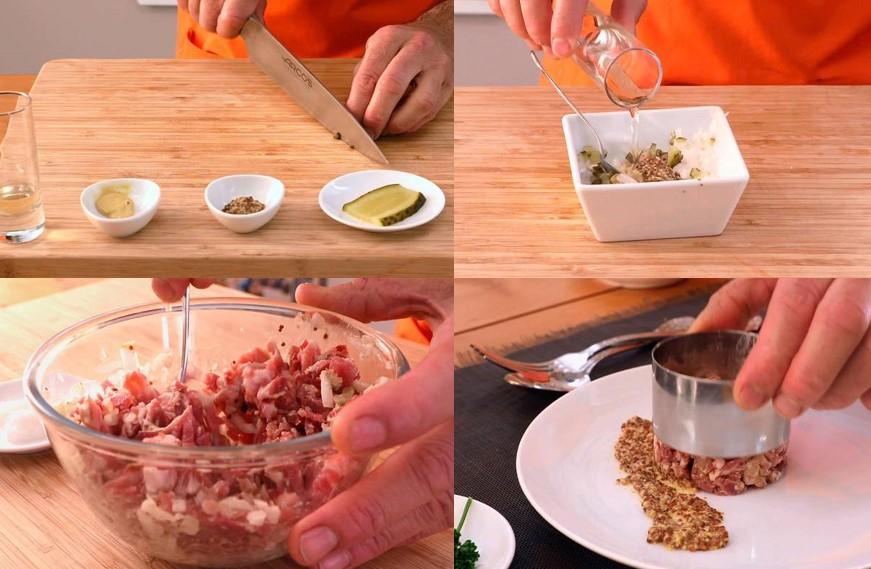 Preparación del tartar de jamón ibérico