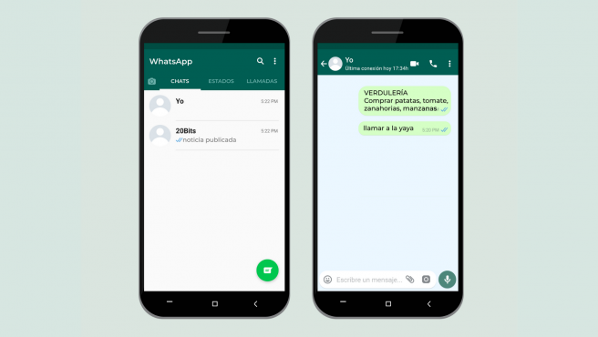 ¿Qué podemos hacer en un chat con nosotros mismos en WhatsApp?