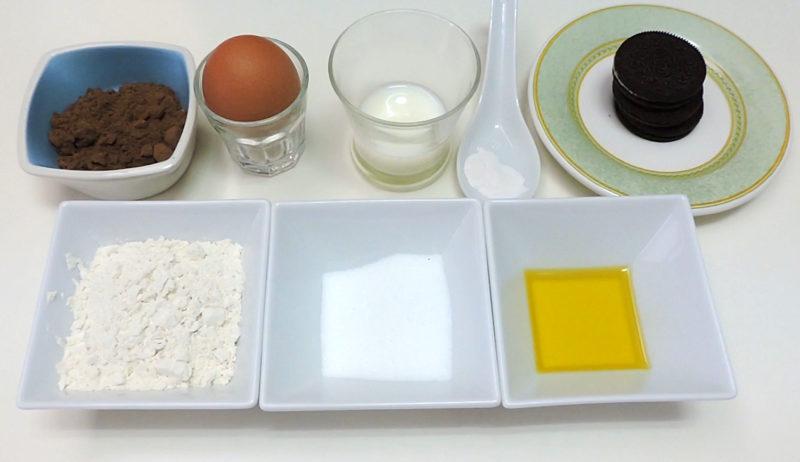 Ingredientes para preparar un bizcocho de oreo
