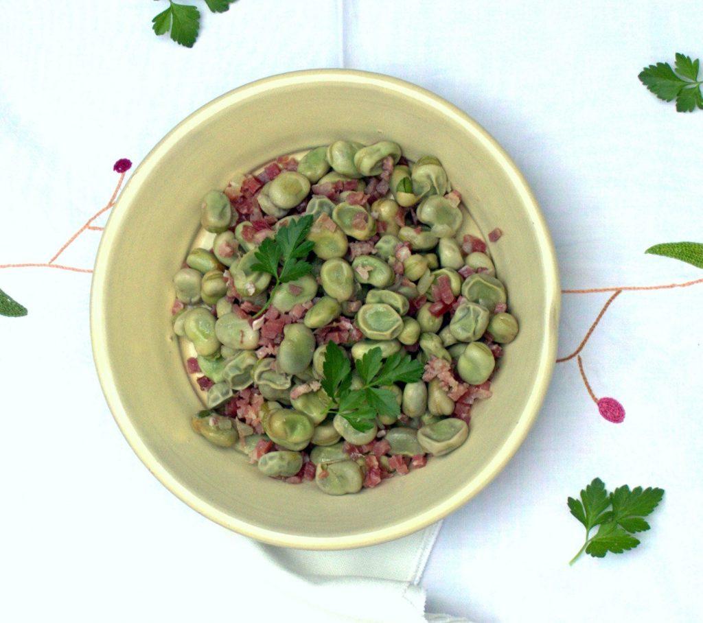 Pasos para preparar las habas con jamón con otros ingredientes